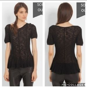 Maje sheer peplum knit tee